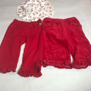 baby Girl Red Pants and Hat Baby Bundle 3-6 Months